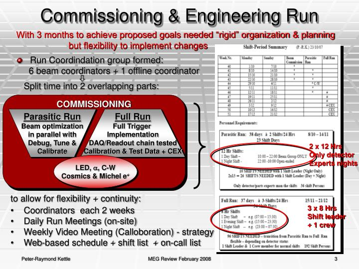 Commissioning engineering run