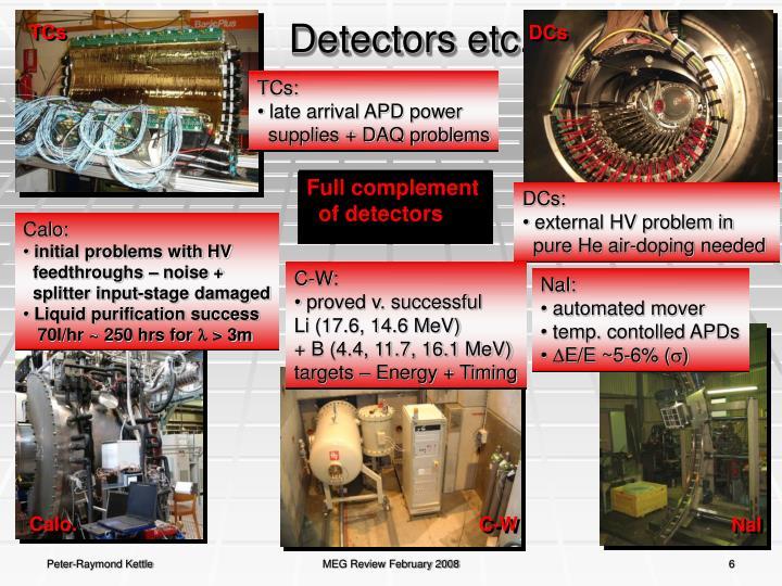 Detectors etc.