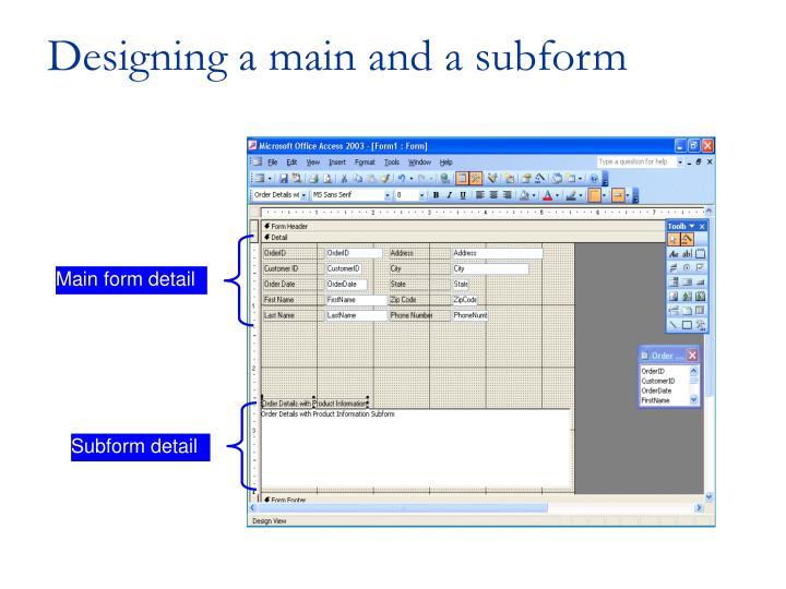 Main form detail