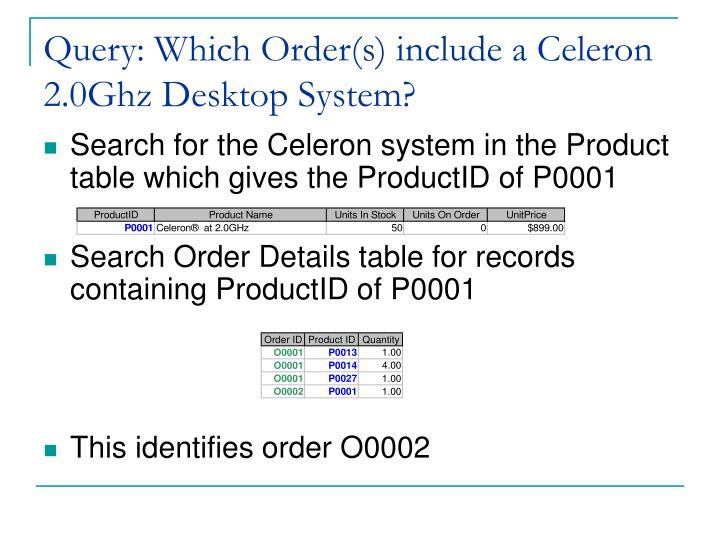 Query: Which Order(s) include a Celeron 2.0Ghz Desktop System?