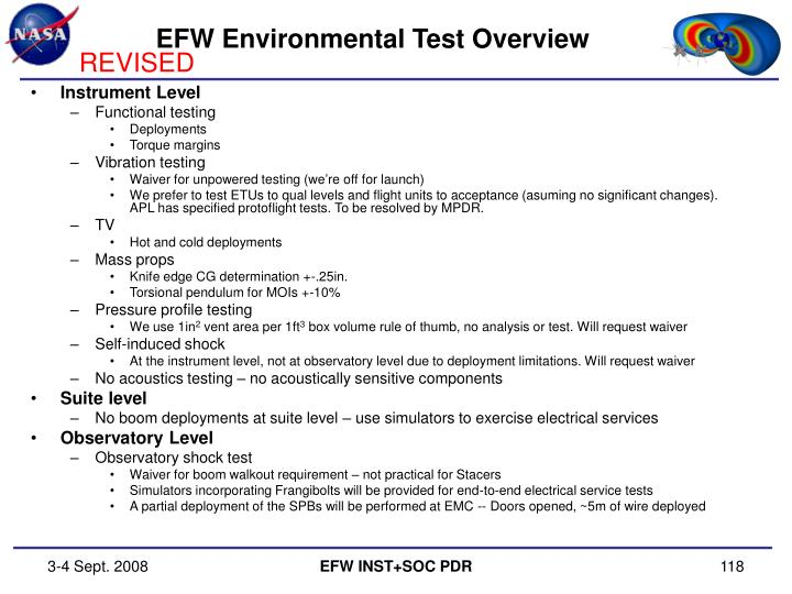 EFW Environmental Test Overview
