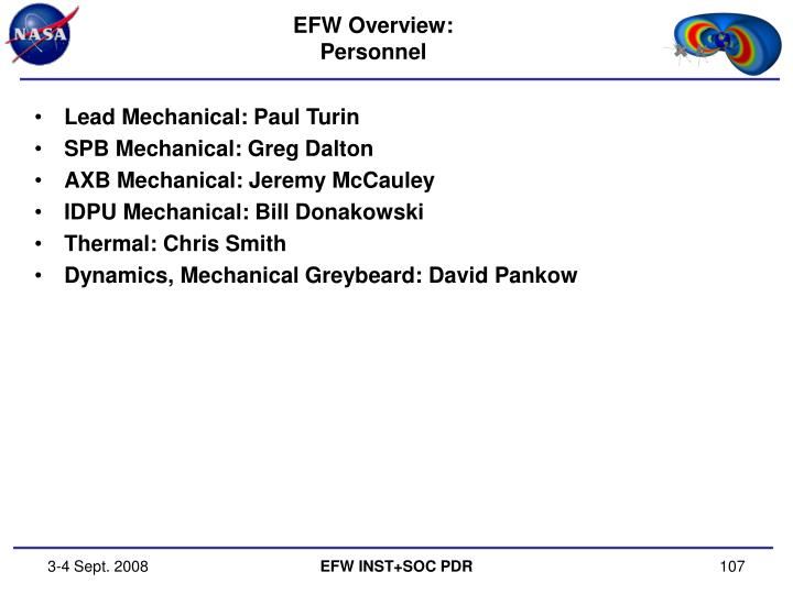 Efw overview personnel
