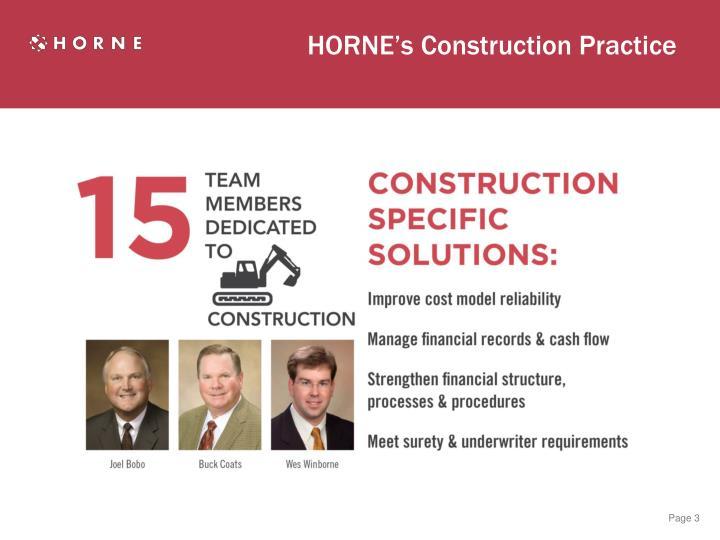 HORNE's Construction Practice