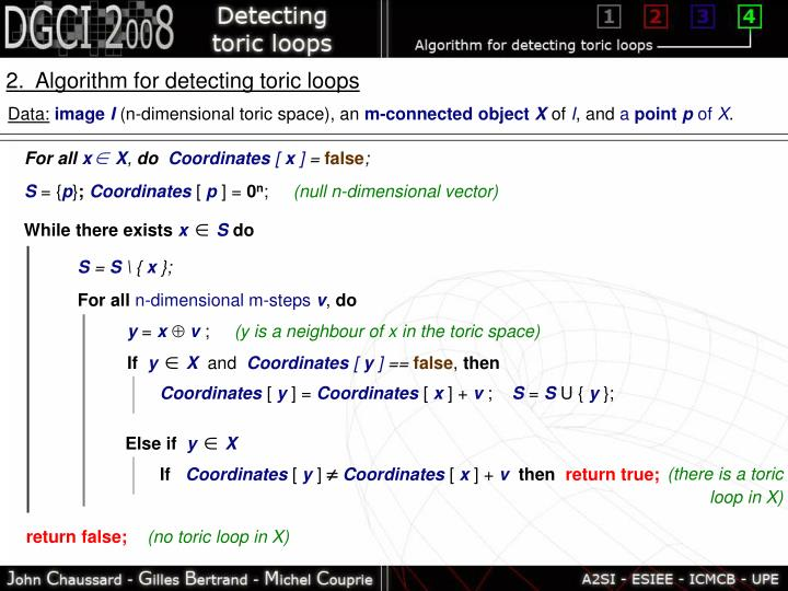 2.  Algorithm for detecting toric loops