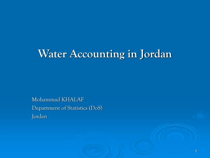 Water accounting in jordan