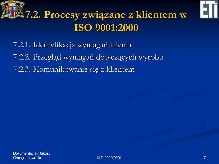 7.2. Procesy związane z klientem w ISO 9001:2000