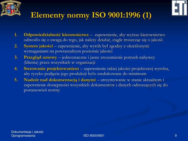 Elementy normy ISO 9001:1996 (1)