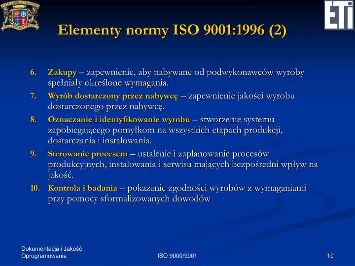 Elementy normy ISO 9001:1996 (2)