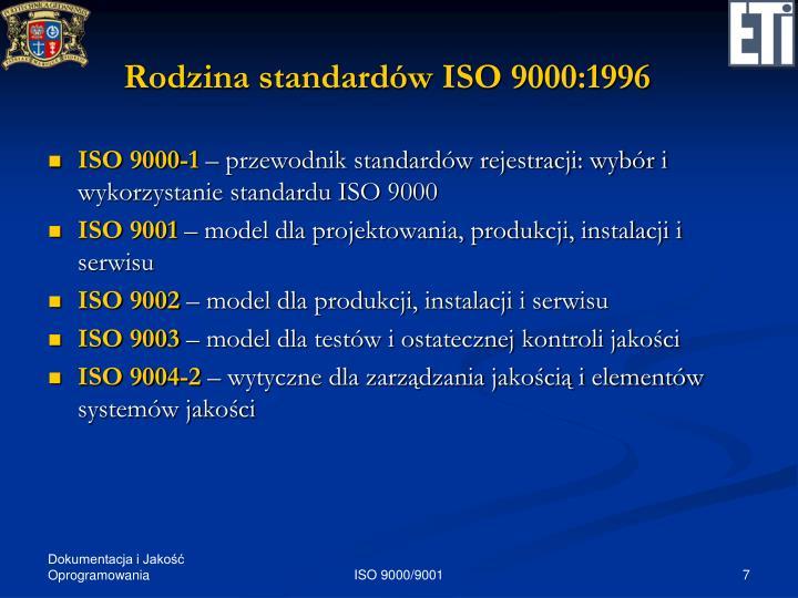 Rodzina standardów ISO 9000:1996