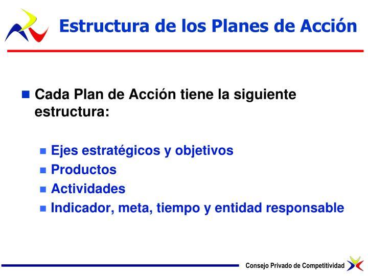 Estructura de los Planes de Acción
