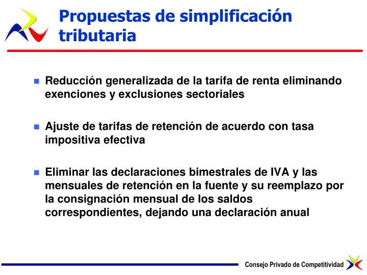 Propuestas de simplificación tributaria