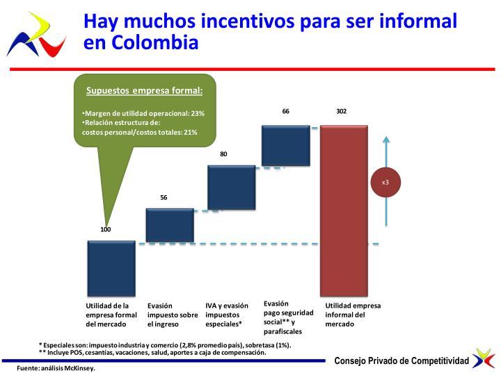 Hay muchos incentivos para ser informal en Colombia