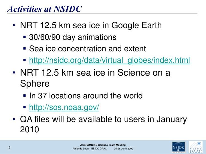 Activities at NSIDC