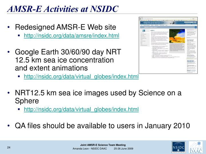 AMSR-E Activities at NSIDC