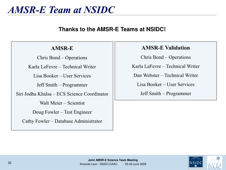 AMSR-E Team at NSIDC
