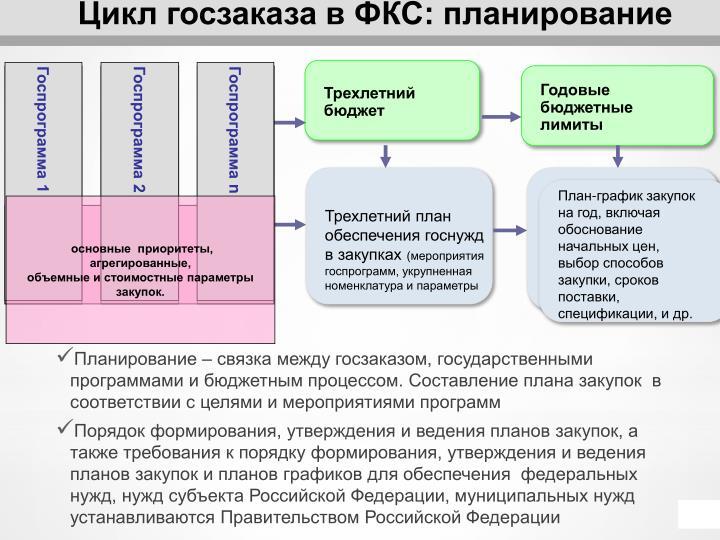Цикл госзаказа в ФКС: планирование