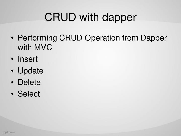 CRUD with dapper