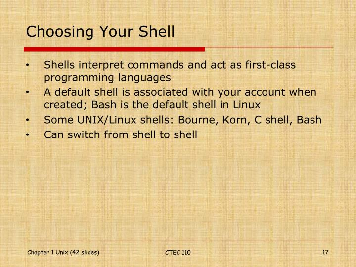 Choosing Your Shell