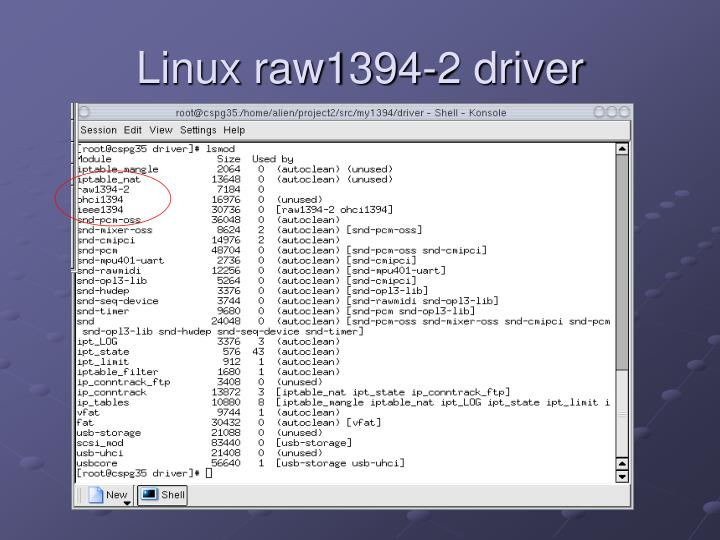 Linux raw1394-2 driver