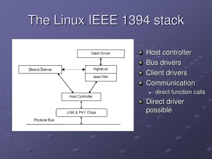 The Linux IEEE 1394 stack