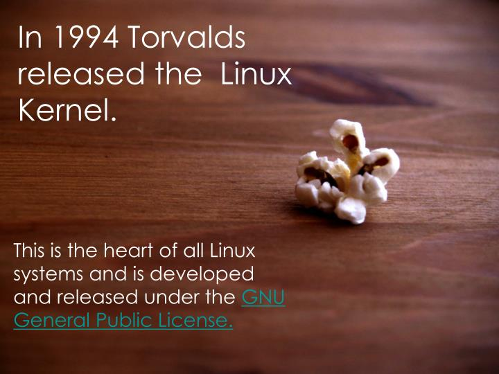 In 1994 Torvalds released the  Linux Kernel.
