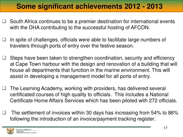 Some significant achievements 2012 - 2013