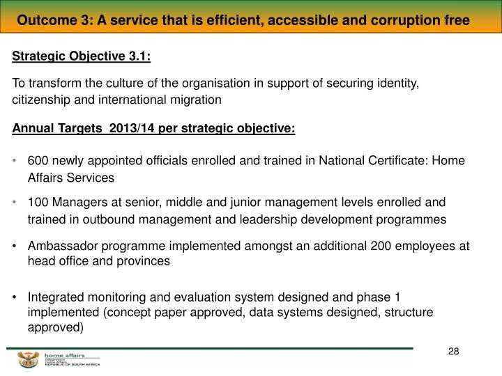 Outcome 3: A service that is efficient, accessible and corruption free