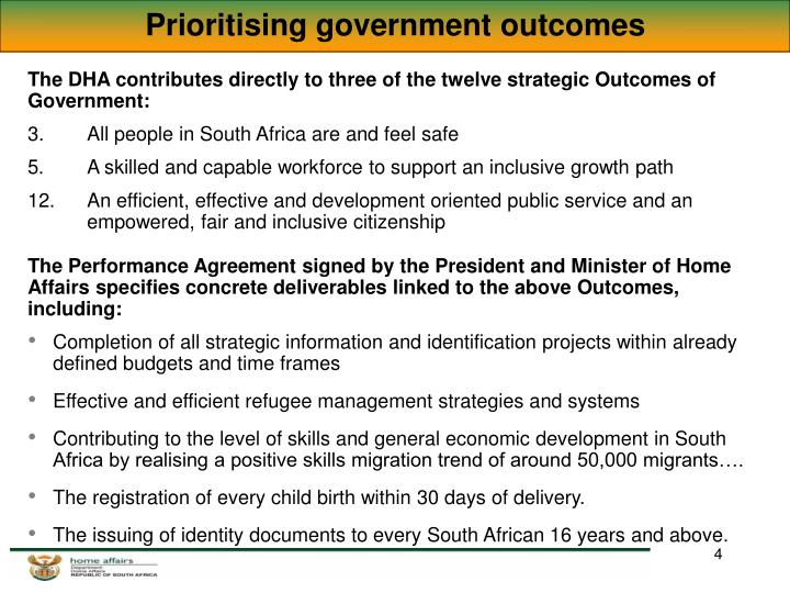 Prioritising government outcomes