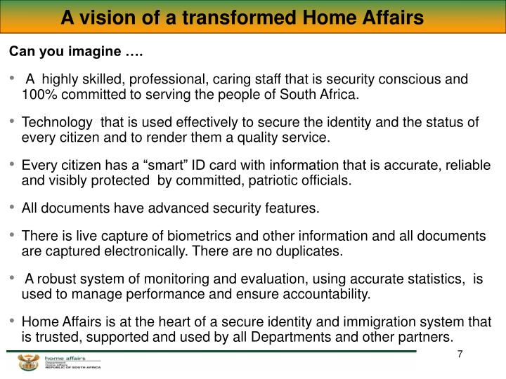 A vision of a transformed Home Affairs