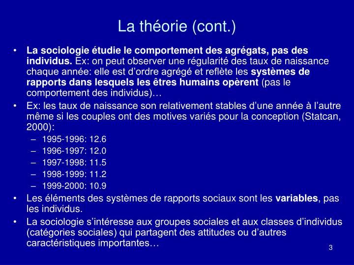 La théorie (cont.)
