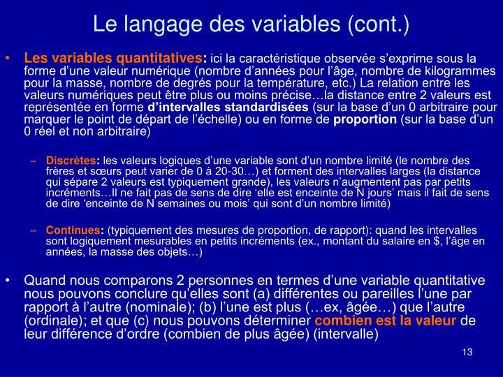Le langage des variables (cont.)
