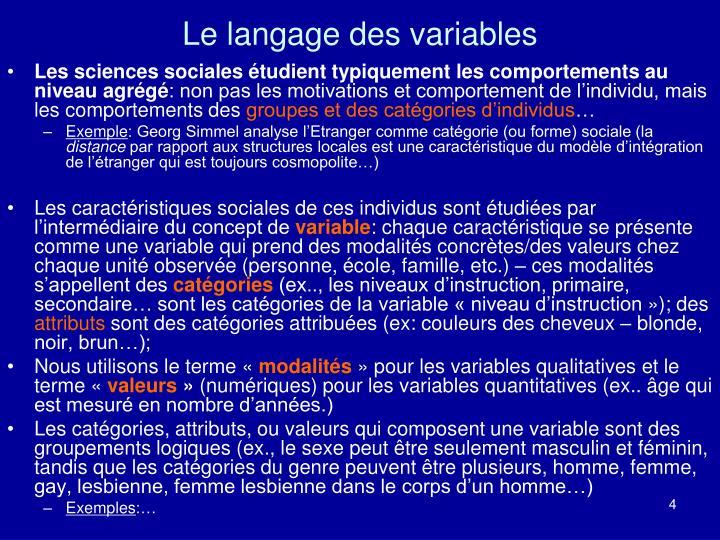 Le langage des variables