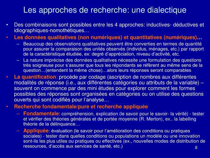 Les approches de recherche: une dialectique