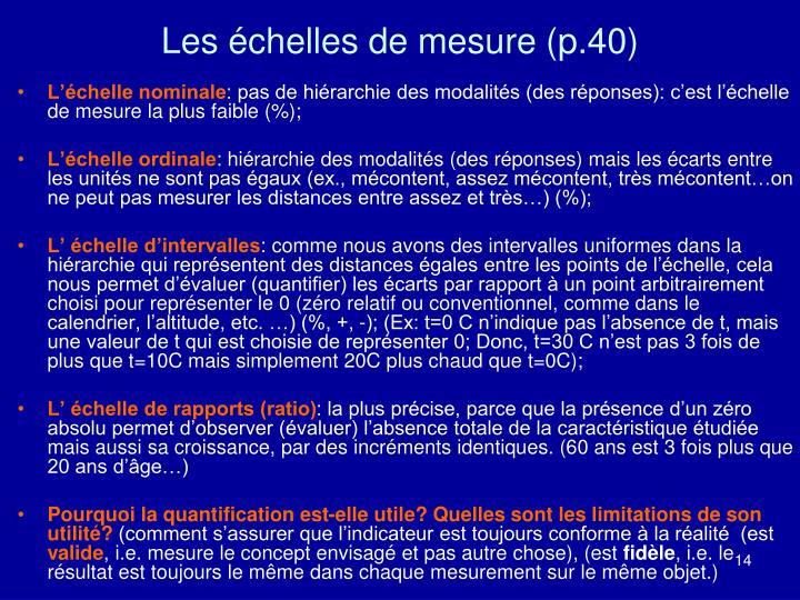Les échelles de mesure (p.40)