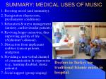 summary medical uses of music