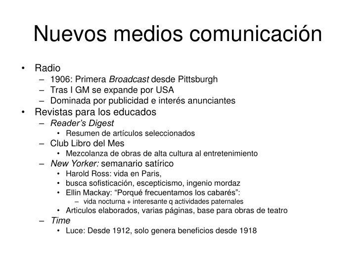 Nuevos medios comunicación