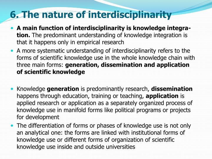 6. The nature of interdisciplinarity