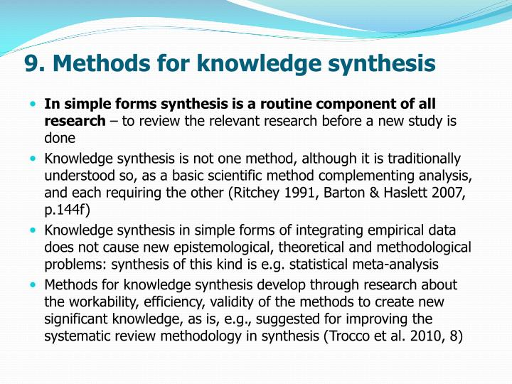 9. Methods for knowledge synthesis