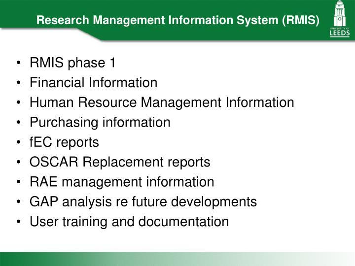 Research Management Information System (RMIS)