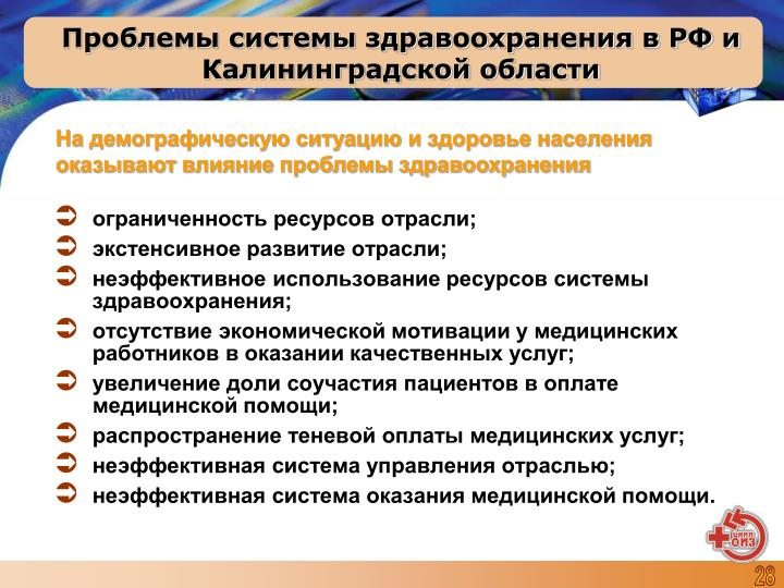 Проблемы системы здравоохранения в РФ и Калининградской области