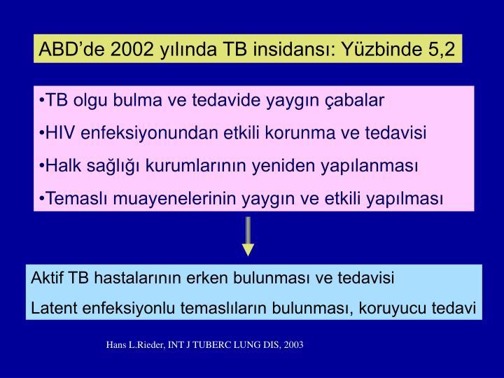 ABDde 2002 ylnda TB insidans: Yzbinde 5,2