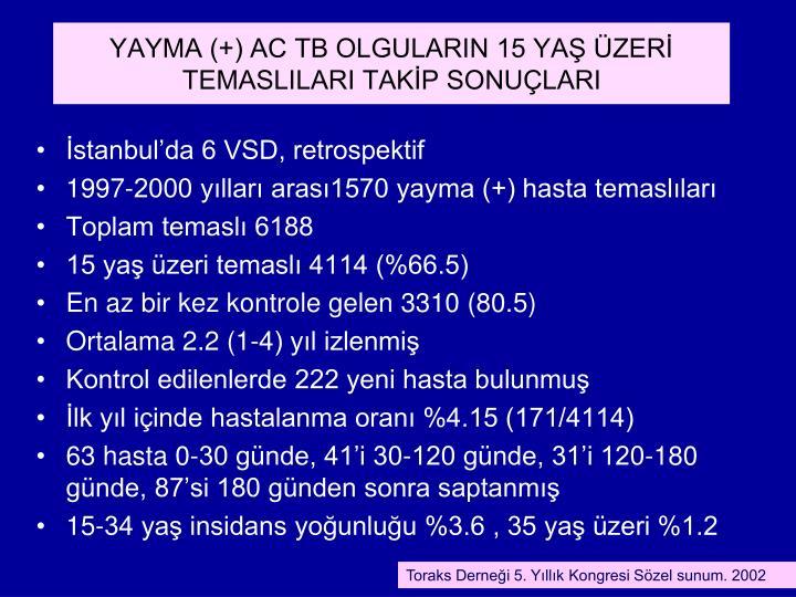 YAYMA (+) AC TB OLGULARIN 15 YA ZER TEMASLILARI TAKP SONULARI