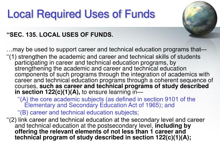 Local Required Uses of Funds