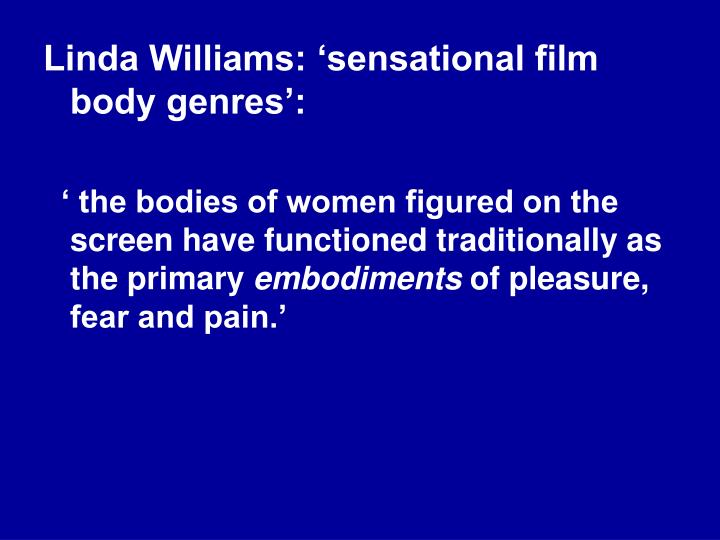 Linda Williams: 'sensational film body genres':