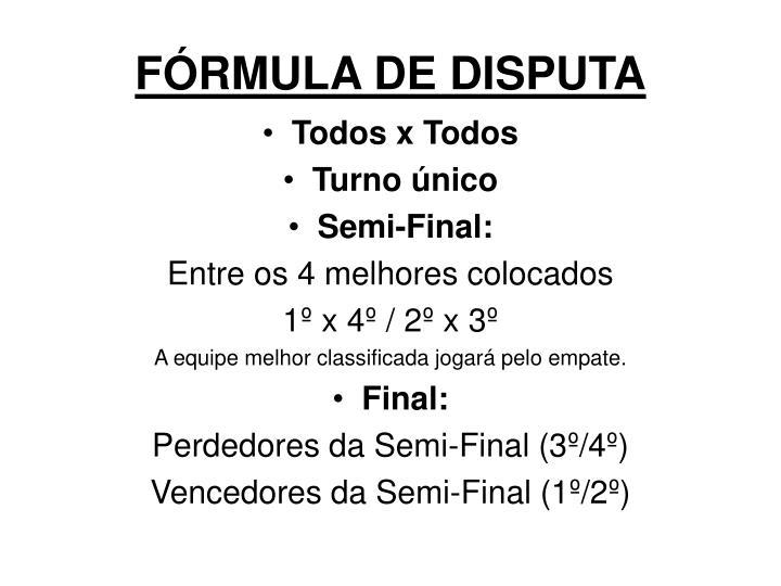 FÓRMULA DE DISPUTA