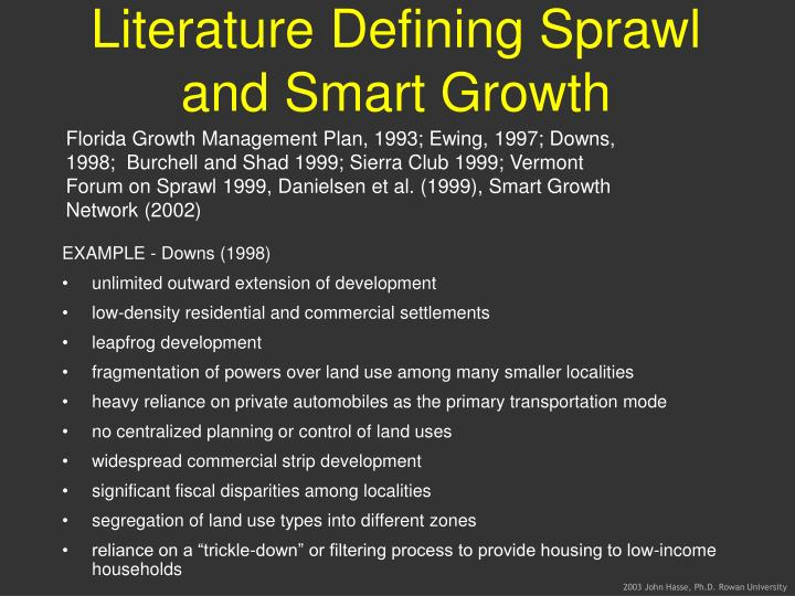 Literature Defining Sprawl and Smart Growth