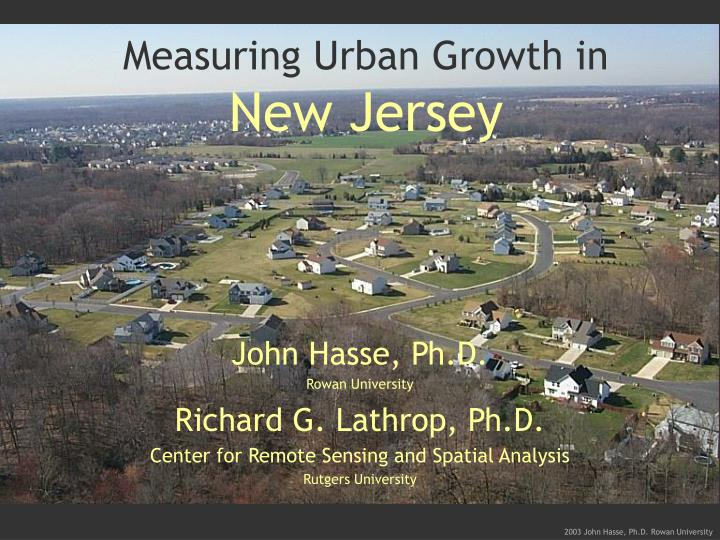 Measuring urban growth in new jersey