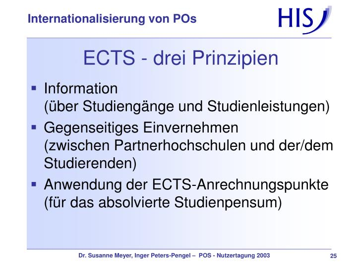 ECTS - drei Prinzipien