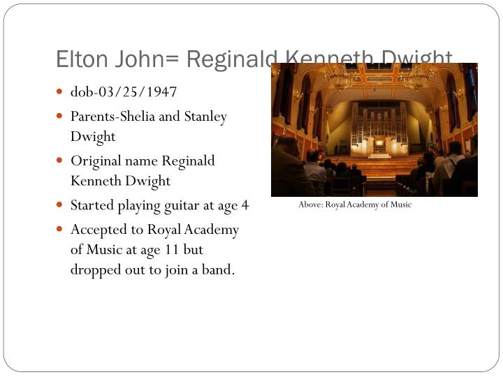 Elton john reginald kenneth dwight