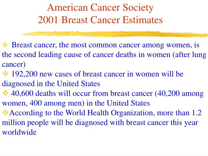 American cancer society 2001 breast cancer estimates